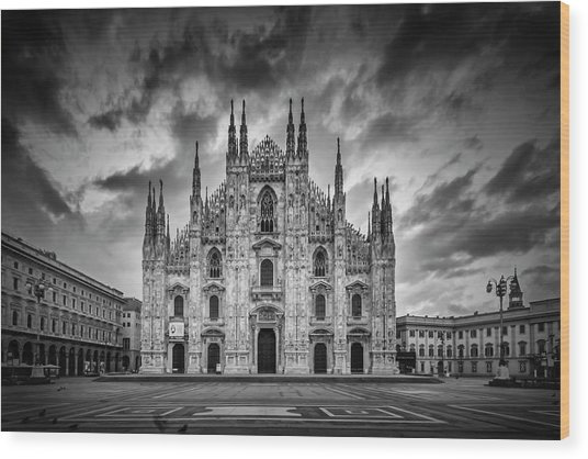 Milan Cathedral Santa Maria Nascente Monochrome Wood Print
