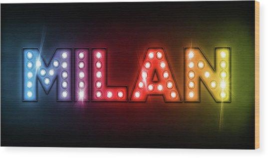 Milan In Lights Wood Print by Michael Tompsett