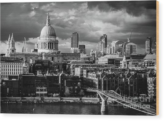 Milennium Bridge And St. Pauls, London Wood Print
