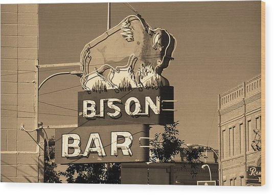 Miles City, Montana - Bison Bar Sepia Wood Print