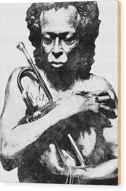 Miles Davis Bw  Wood Print