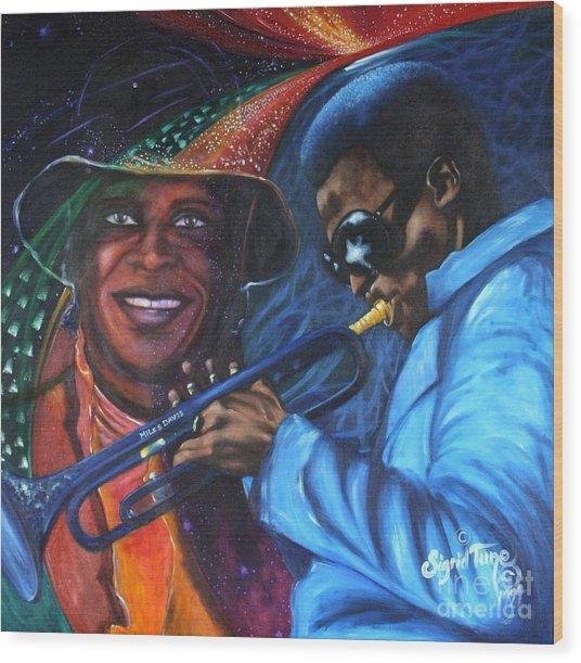 Blaa Kattproduksjoner            Miles Davis - Smiling Wood Print