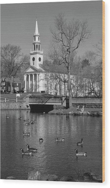 Milford Congregational Church Bw Wood Print