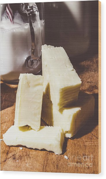 Milk And Cheese Wood Print