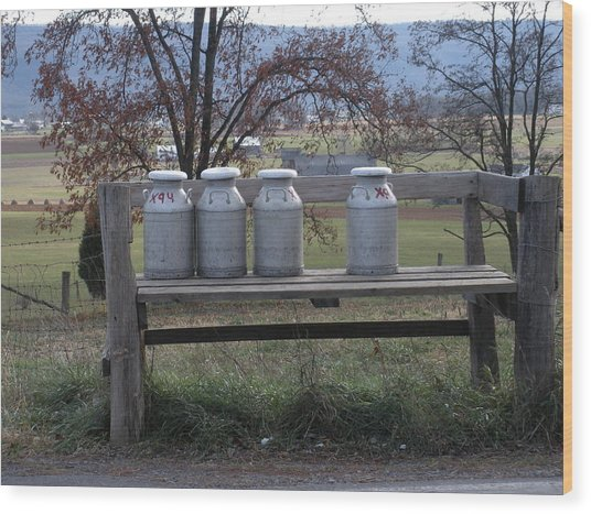 Milk Cans Waiting For Pickup Wood Print by Jeanette Oberholtzer