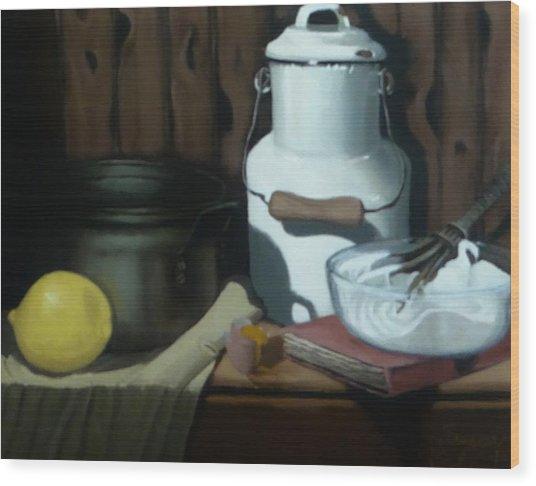 Milk Jug Meringue Wood Print