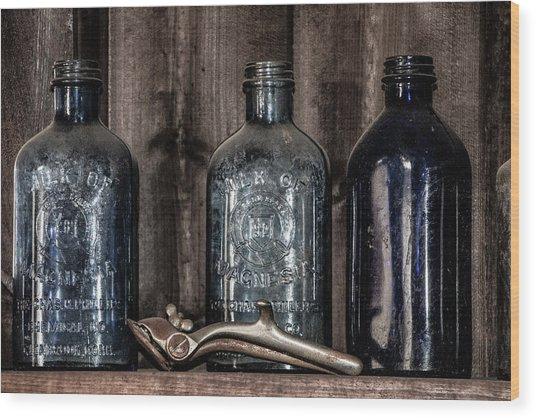 Milk Of Magnesia Bottles Wood Print