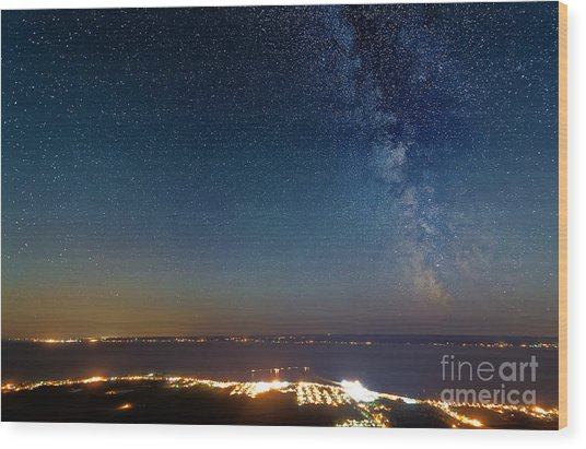 Milky Way Above Carleton In Quebec Wood Print by Colin Woods