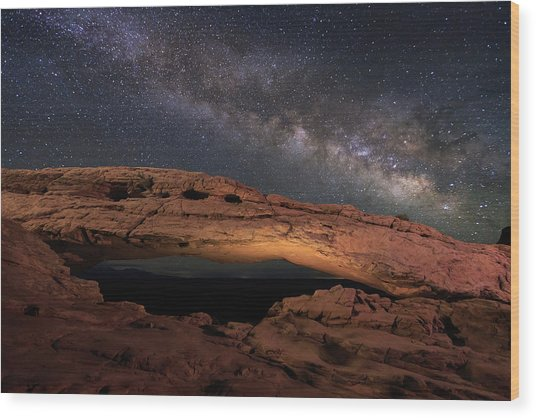 Milky Way Above Mesa Arch. Wood Print by Johnny Adolphson