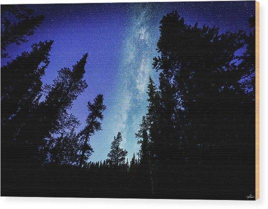 Milky Way Among The Trees Wood Print