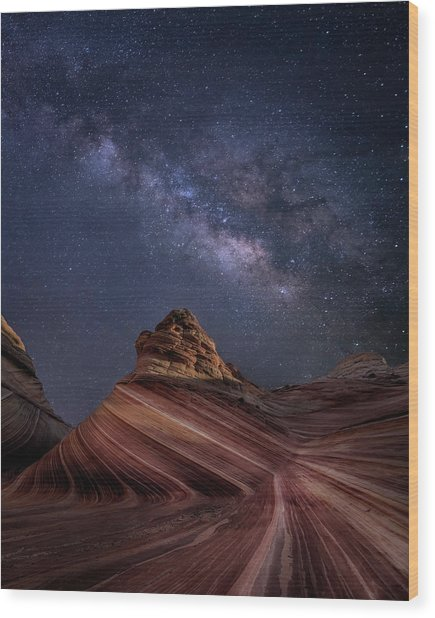 Milky Way And The Wave Wood Print