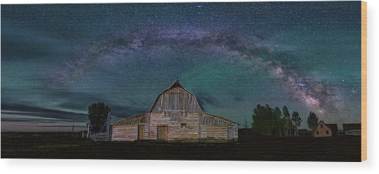 Milky Way Arch Over Moulton Barn Wood Print