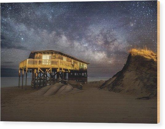 Milky Way Beach House Wood Print
