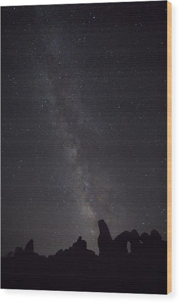 Milky Way Galaxy At Arches National Park Wood Print