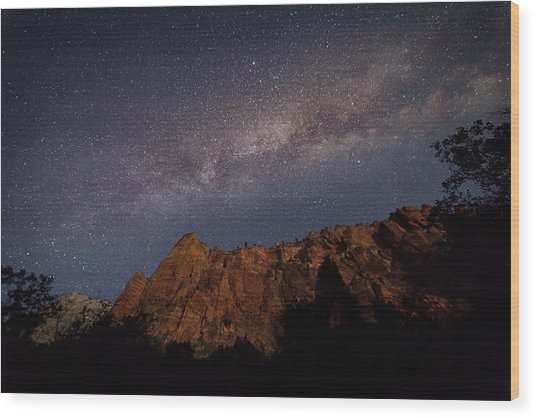 Milky Way Galaxy Over Zion Canyon Wood Print