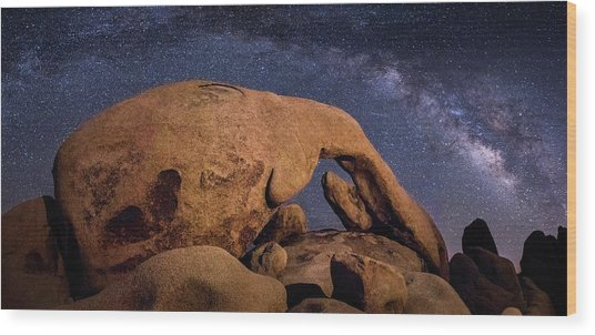 Milky Way Over Arch Rock Wood Print