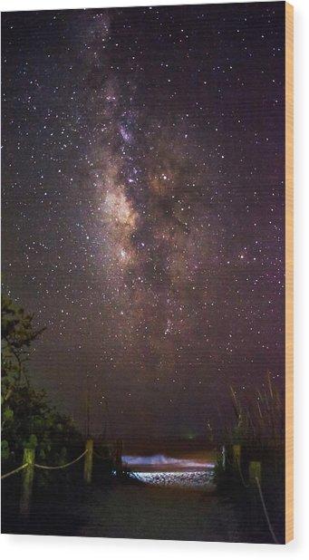 Milky Way Over Beach Access Wood Print