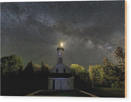 Milky Way Over Cana Island Lighthouse Wood Print