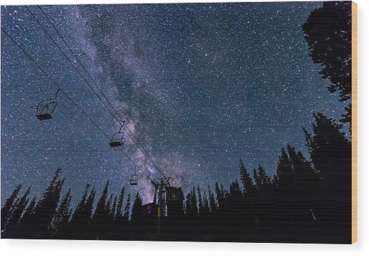 Milky Way Over Chairlift Wood Print