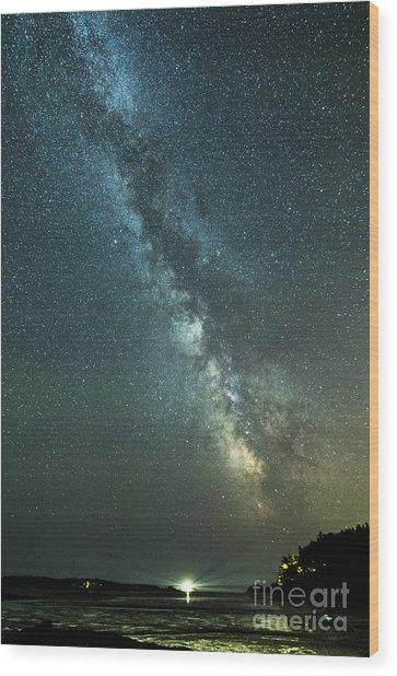 Milky Way Over Clams Flats Wood Print