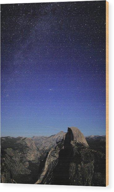 Milky Way Over Half Dome Wood Print