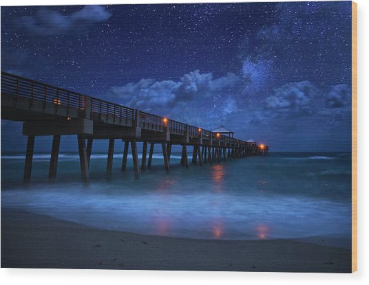 Milky Way Over Juno Beach Pier Under Moonlight Wood Print
