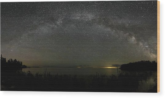 Milky Way Over Lake Michigan At Cana Island Lighthouse Wood Print