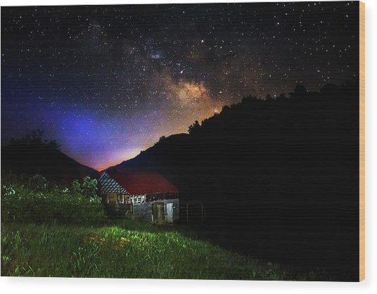 Milky Way Over Mountain Barn Wood Print