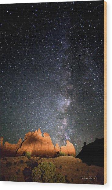 Milky Way Over Navajo Rocks Wood Print