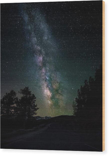Milky Way Over Rocky Mountains Wood Print