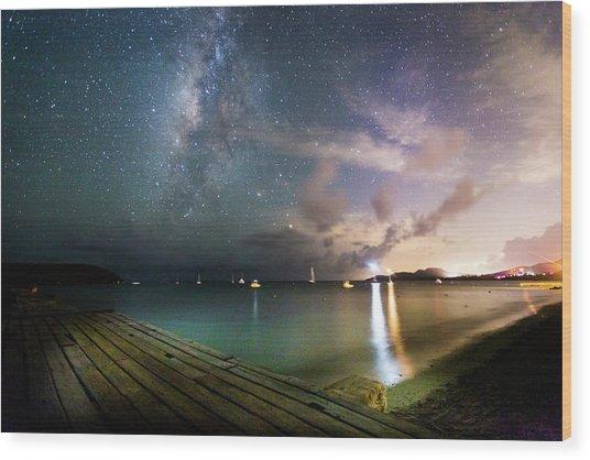 Milky Way Over Sugar Cane Pier Wood Print by Karl Alexander