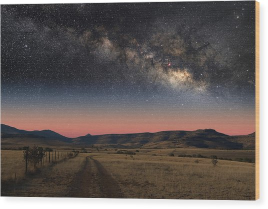 Milky Way Over Texas Wood Print