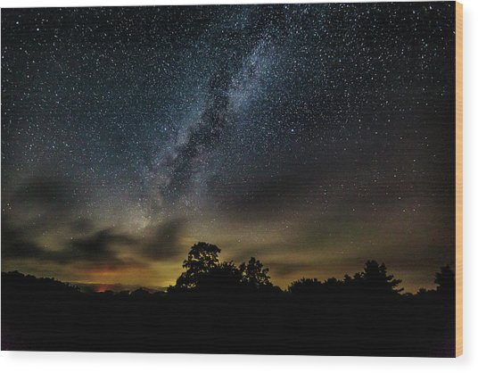 Milky Way Over The Blue Ridge Wood Print