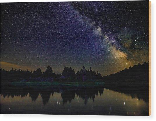 Milky Way Over The Deschutes River - 2 Wood Print