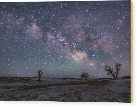 Milky Way Over The Prairie Wood Print