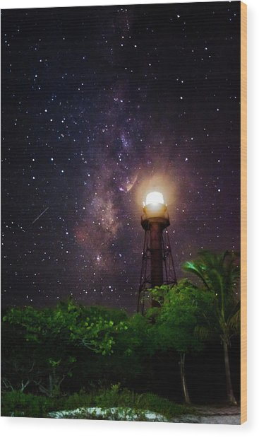 Milky Way Over The Sanibel Lighthouse Wood Print