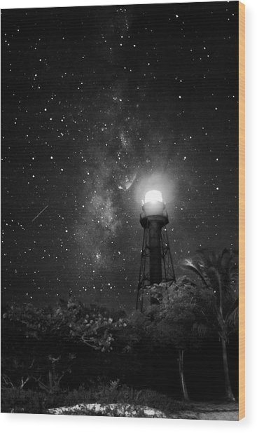 Milky Way Over The Sanibel Lighthouse In Black And White Wood Print