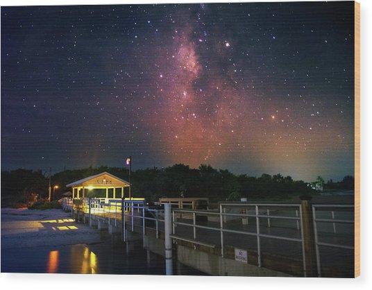Milky Way Over The Sanibel Pier Wood Print