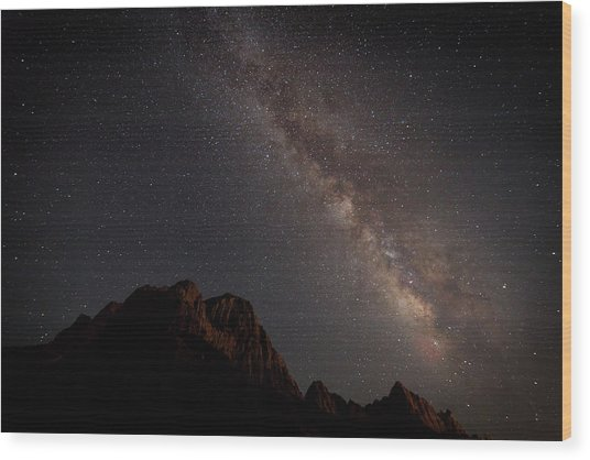Milky Way Over Zion Wood Print