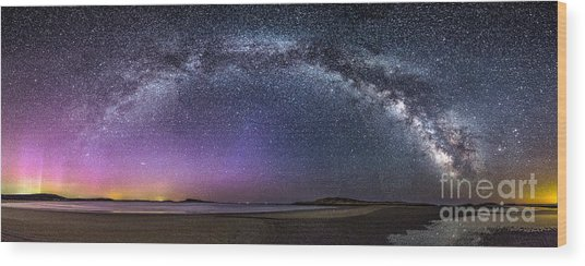 Milky Way Panorama With Northern Lights At Popham Beach Wood Print