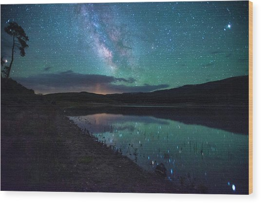 Milky Way Reflections Wood Print