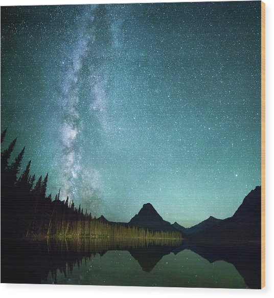 Milky Way // Two Medicine Lake, Glacier National Park Wood Print