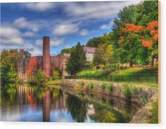Mill Building - Autumn In Laconia Nh Wood Print by Joann Vitali