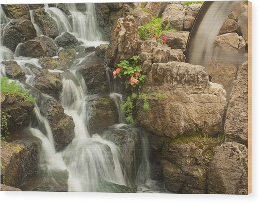 Wood Print featuring the photograph Mill Wheel With Waterfall by David Coblitz