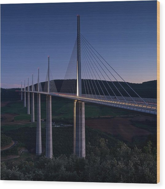 Millau Viaduct At Dusk Wood Print