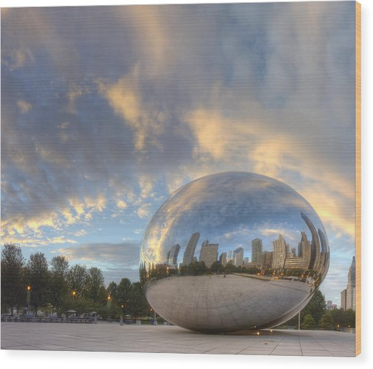 Millennium Park In The Morning Wood Print