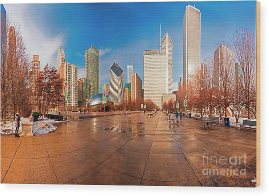 Millennium Park Skyline And The Bean  Wood Print