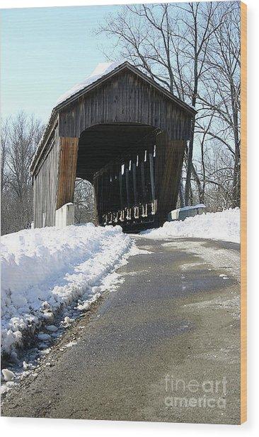 Millrace Park Old Covered Bridge - Columbus Indiana Wood Print