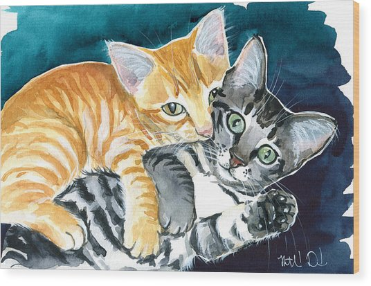 Milo And Tigger - Cute Kitty Painting Wood Print
