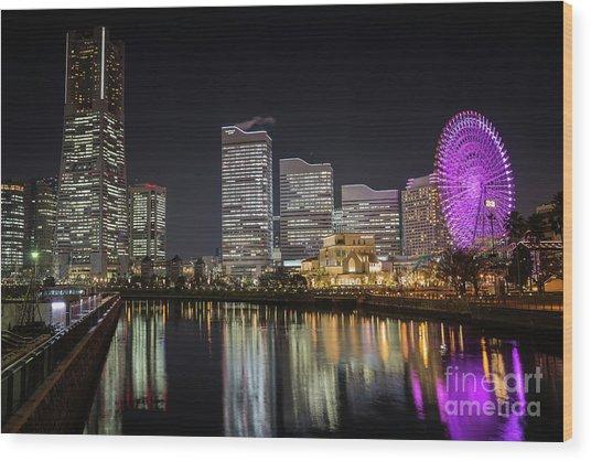 Minato Mirai At Night Wood Print